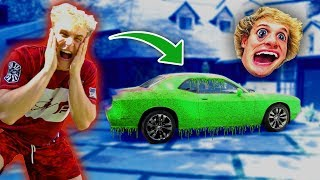 SUPER SLIME PRANK ON MY BROTHERS CAR!!