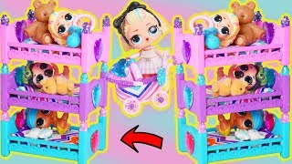 Slumber Party in LOL Surprise Dolls Custom Triple Bunk Beds for Barbie Bedtime Routine
