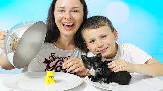 Gerçek yemek Jelibon yemeğe karşı YAVRU KEDİ Gummy vs real food CHALLENGE