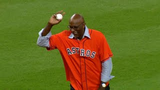 ALCS Gm6: Clyde Drexler tosses ceremonial first pitch