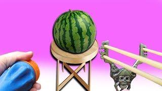 Gummi Schleudern im Härtetest - Experiment