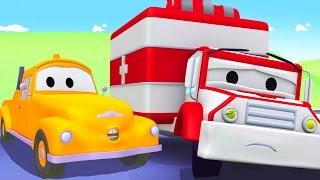 Tom der Abschleppwagen und Amber der Krankenwagen in Autopolis| Lastwagen Bau-Cartoon-Serie