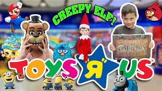 "CREEPY ELF KEEPS FOLLOWING US!!!  Toys ""R"" Us Shopping Spree!"