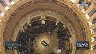 President George H.W. Bush's casket arrives in the U.S. Capitol Rotunda (C-SPAN)