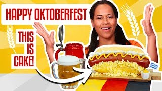How To Make an Oktoberfest SAUSAGE ON A BUN out of CAKE | Yolanda Gampp | How To Cake It