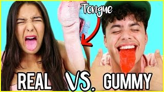 Gummy Food VS. Real Food! EATING COW TONGUE & A HEART! Natalies Outlet