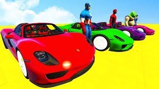 LEARN COLORS Cars Sport RACE & Superheroes Cartoon Nursery Rhymes Spiderman for Kids