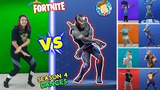 FORTNITE DANCE CHALLENGE in REAL LIFE #2 (Season 4 Dances HYPE, ORANGE JUSTICE, GROOVE JAM & POCORN)