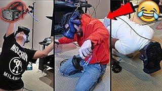 TEAM ALBOE TRIES VIRTUAL REALITY!! *HILARIOUS GAMEPLAY*   HTC VIVE