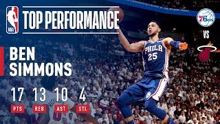 Ben Simmons Tallies First Playoff Triple Double!