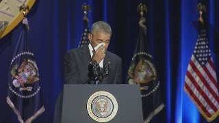 Obama gets emotional during his farewell speech