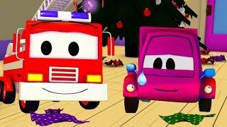 Der Streifenwagen mit dem Feuerwehrauto und Der Unfall des kleinen rosa Autos in Autopolis
