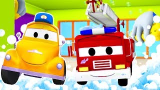 Tom und Toms Autowaschanlage und Frank das Feuerwehrauto | Lastwagen Zeichentrickfilme für Kinder