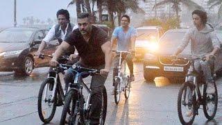 Salman Khan, Shah Rukh Khan, Son Aryan Khan Go On A Cycle Ride On Mumbai Roads