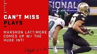 Marshon Lattimore Comes Up w/ The HUGE INT!!!