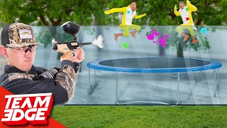 Trampoline Duck Hunt Challenge!!   Painful Paintball Edition!!