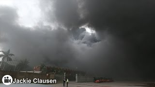 Plume of black smoke stretches 20km from Durban warehouse fire