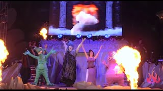 Full Villains Unleashed Hades Hangout opening stage show with Megara at Walt Disney World