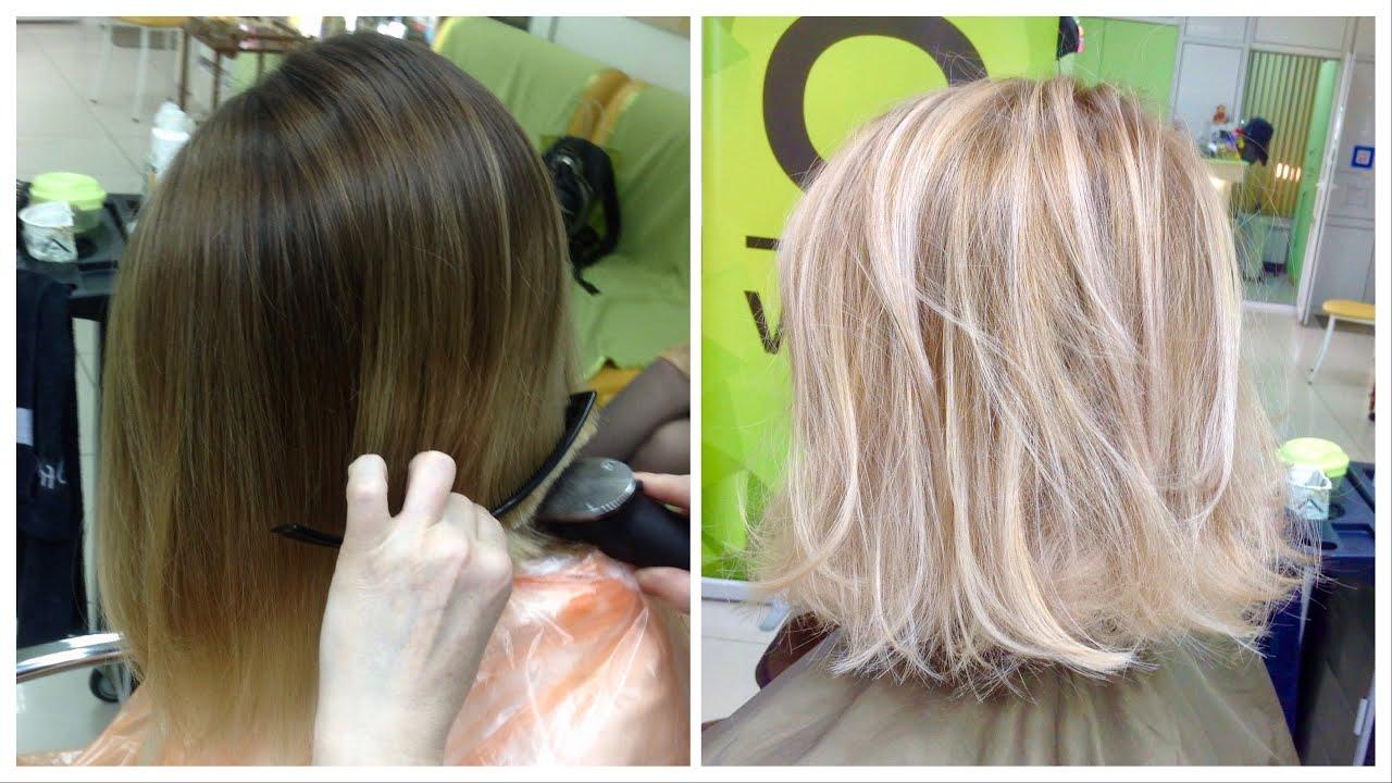 Как сделать мелирование на обесцвеченные волосы фото