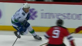 Canucks' Boeser nailed by Hall with huge clean hit