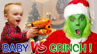 Baby vs Grinch Babysitter! Will the Grinch Train the Baby to Ruin Christmas?