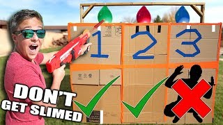 SLIME THE PERSON IN THE BOX!📦💦 Box Fort Slime Balloon Challenge
