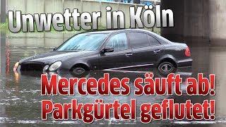 Unwetter in Köln - Mercedes säuft ab