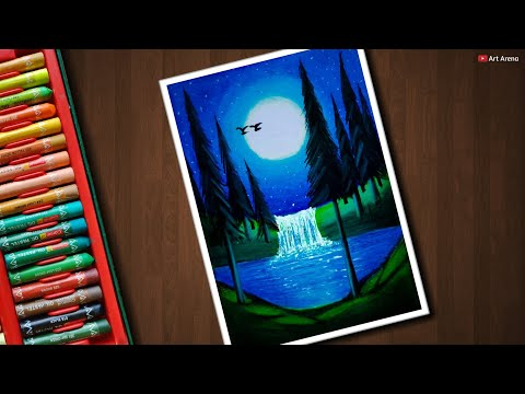 Easy Night Forest Scenery Drawing With Oil Pastels Step By Step