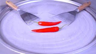 Ice Cream Rolls | red hot Chili and Tabasco Pepper Sauce / thai spicy roll ice cream challenge asmr