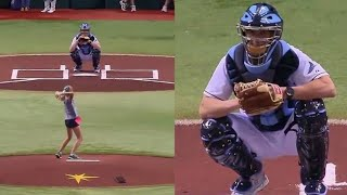 When This Little Girl Threw The First Pitch, The Catcher Removed His Mask And She Burst Out Crying
