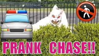 SCARY BUNNY in PUBLIC PRANKS PEOPLE!!... POLICE CHASE!! GAME PLAY STEALS SCOOTER, THIEF!