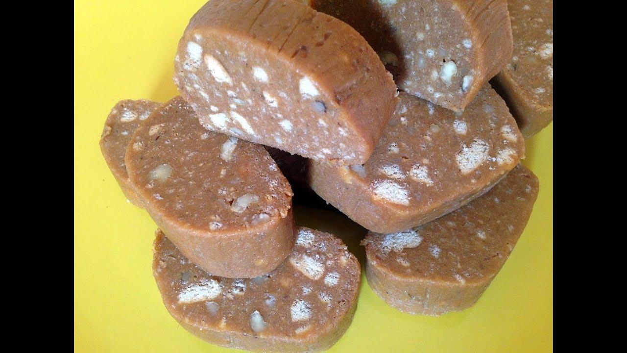 Рецепт колбаска из печенья и сгущенки рецепт
