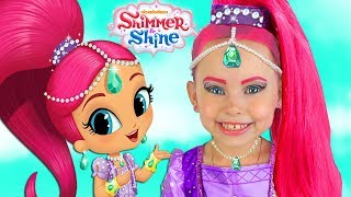 Alice playing in the park & open Surprise Toys Shimmer and Shine