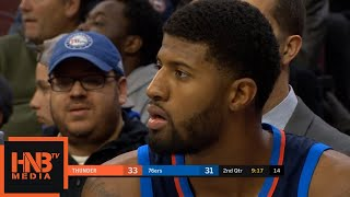 Paul George Gets Technical Foul / Thunder vs Sixers