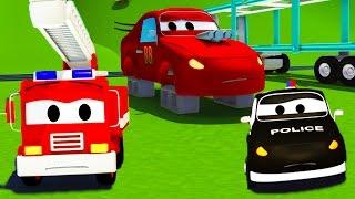 Der Streifenwagen : Jerries Reifen wurden gestohlen in Autopolis | Autos und Lastwagen Bau-Cartoon