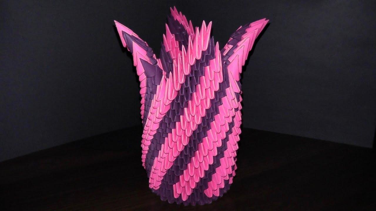 Ваза оригами из модулей сделать