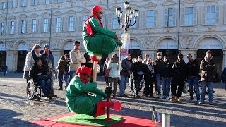 Floating and Levitating Man. Amazing Double Illusion, Street Performers