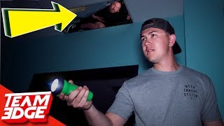 Midnight Hide and Seek in a Spooky Warehouse!   Hiding in the Ceiling!!