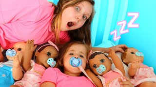 Ruby helps Babies! Kids Pretend Play with Baby Dolls feeding and morning routine video