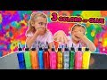 3 COLORS of GLUE SLIME CHALLENGE - 3 COL...