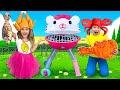 Sasha plays with Hello Kitty BBQ and ope...